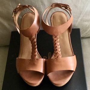 EUC Franco Sarto Leather Wedge Sandals